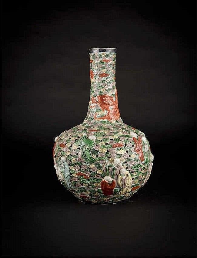 Qing, Guangxu Famille-rose Reticulated Carved Globular Vase with Eighteen Luohans 清光绪粉彩镂空雕十八罗汉天球瓶 高(Height): 41.0cm