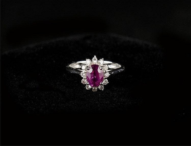 Pink Sapphire Ring, 18k White Gold & Diamond Set (NGI Certified) 艳粉红蓝宝石18k白金钻戒