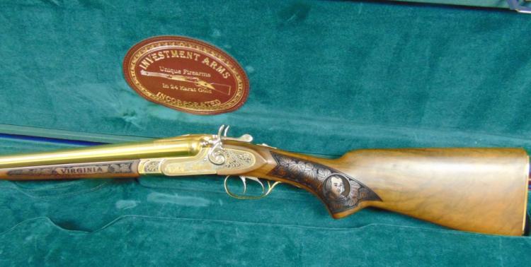 """Double Barrel Shotgun- 12 ga. 3""""Gold Plated"""