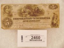 Currency-Corporation of Winchester - 5 Dollars Jan 1, 1862