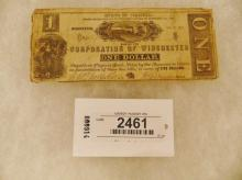 Currency-Corporation of Winchester - 1 Dollar July 15, 1861 Printed in Balto