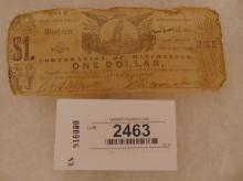Currency-Corporation of Winchester - 1 Dollar Nov 23, 1861 Tissue Paper Weight