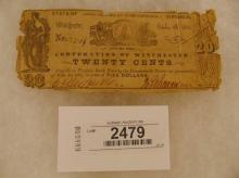 Currency-Corporation of Winchester, 20 Cents Oct 4, 1861