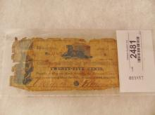 Currency-Corporation of Winchester, 25 Cents July 15, 1861