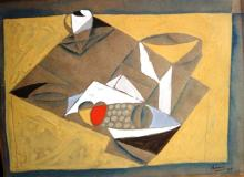 MICHAEL ARAM Signed and Dated Gouache Russian Cubism Picasso