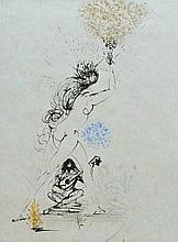 SALVADOR DALI Hand Signed Etching Surrealism 1973 Hand Colored