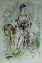 MARC CHAGALL Hand Signed Lithograph Pierrot French Russian Art