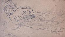 MIKHAIL LARIONOV Signed Drawing 1928 Russian Avant Garde