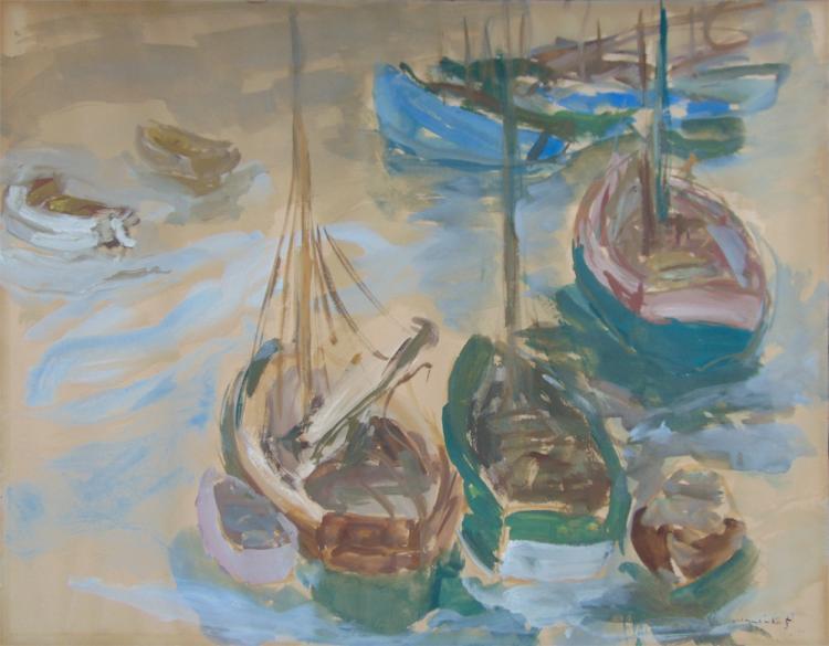 Mane katz signed goauche painting 1938 russian art jewish for Katz fine art