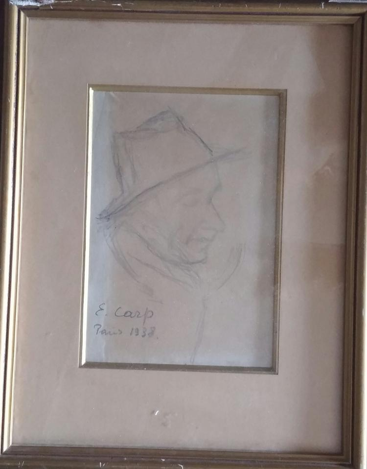 ESTHER CARP Signed Drawing Polish Leon Weissberg 1938