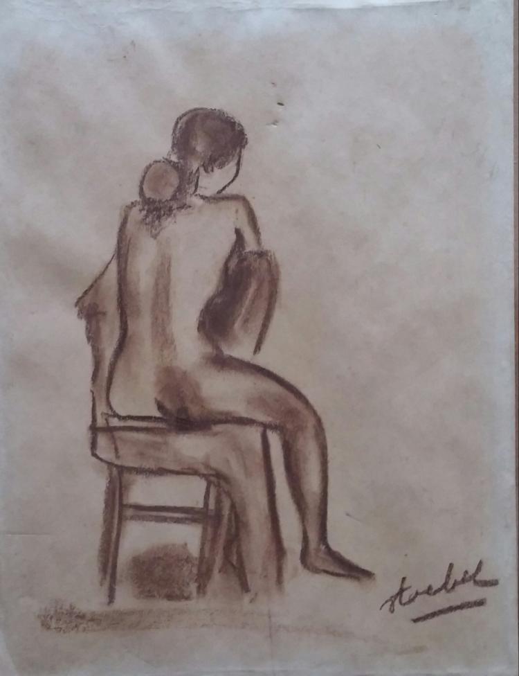 EDGAR STOEBEL Signed Drawing French Ecole de Paris Jewish