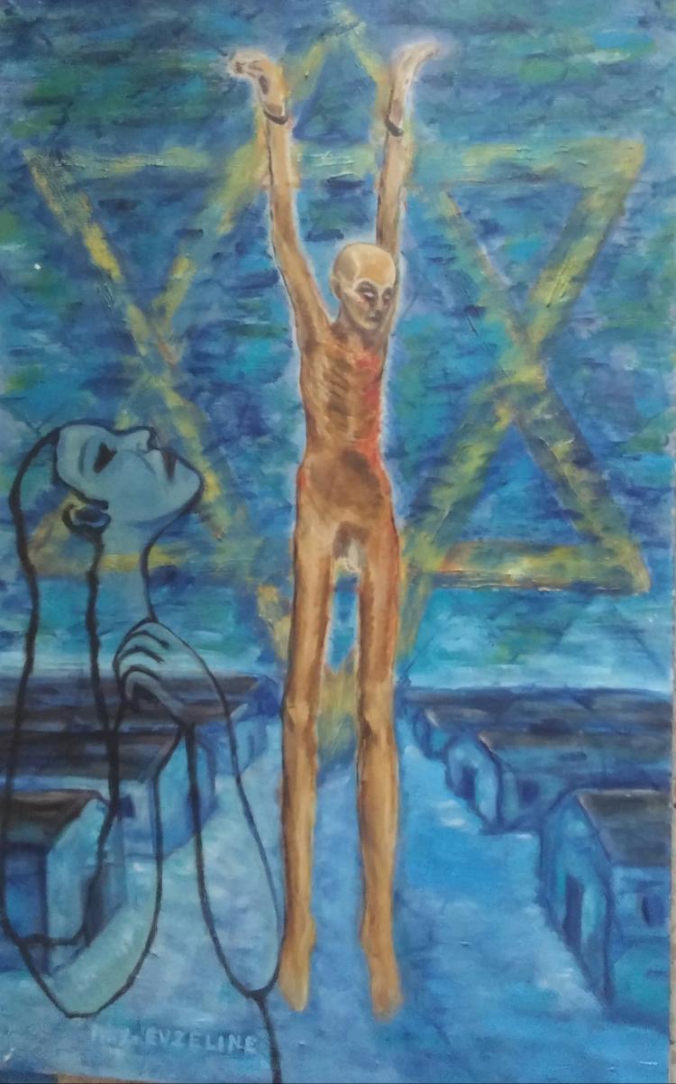 ERZELINE MAX Signed Painting 1970 Holocaust Art French