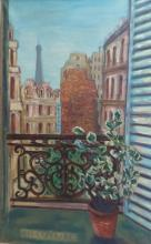ERZELINE MAX Signed Painting 1970 Paris View French