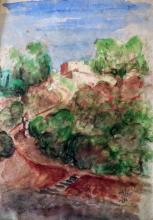 Yitzhak FRENKEL-FRENEL Signed Painting 1936  Israeli Russian French Israeli