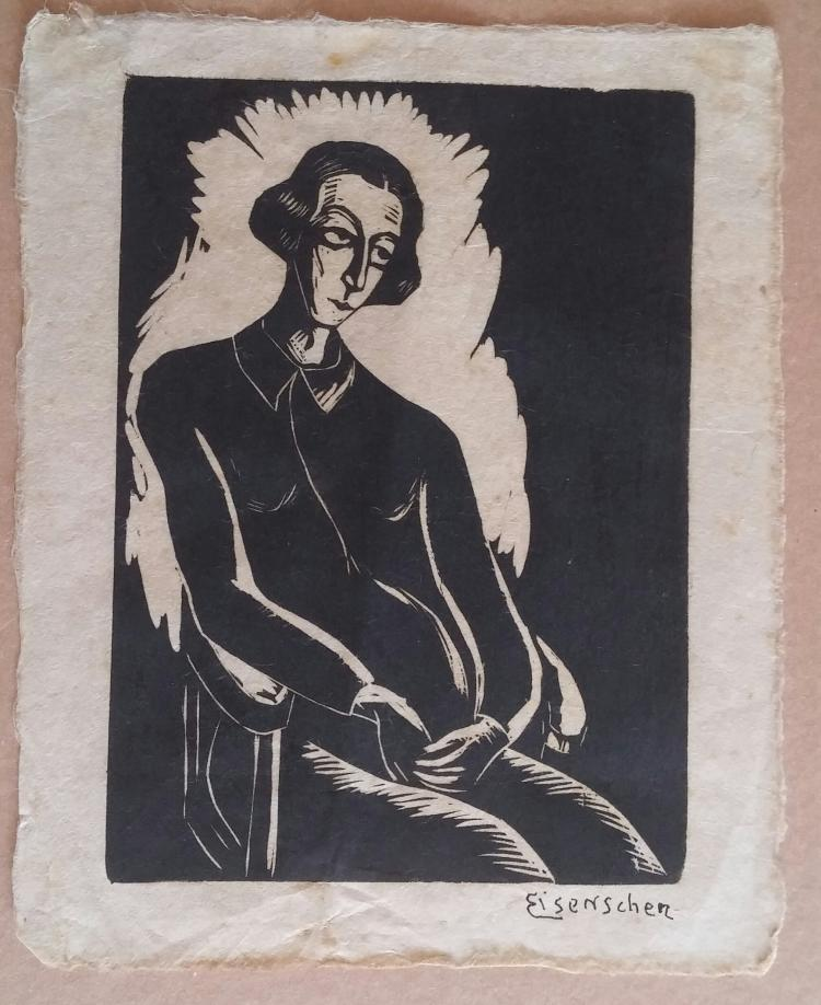 JACOB EISENSCHER Signed Woodcut 1920 Motherhood ISRAELI