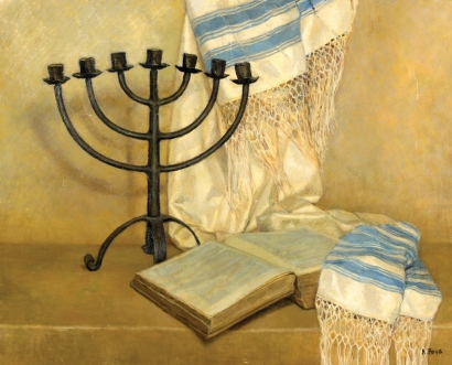 ROSINE POUR Signed Painting Judaica Jewish French Menorah