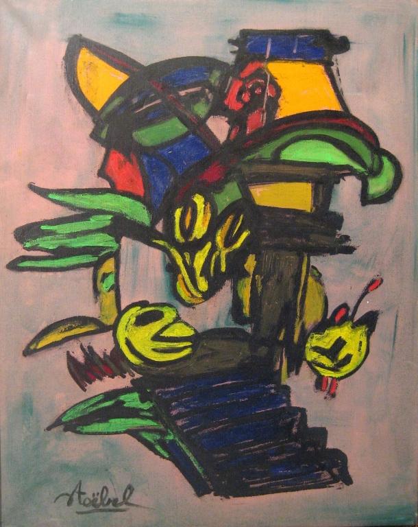 EDGAR STOEBEL Signed Oil Painting French Surrealism Algeria Jewish