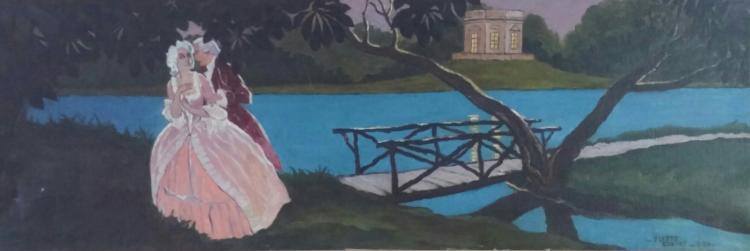 PIERRE COSTET Signed Painting 1934 Romantic Romanticism