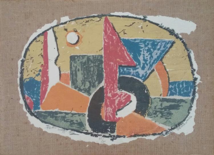 MARCEL JANCO Signed Silkscreen on canvas 1921 DADA Romanian Swiss