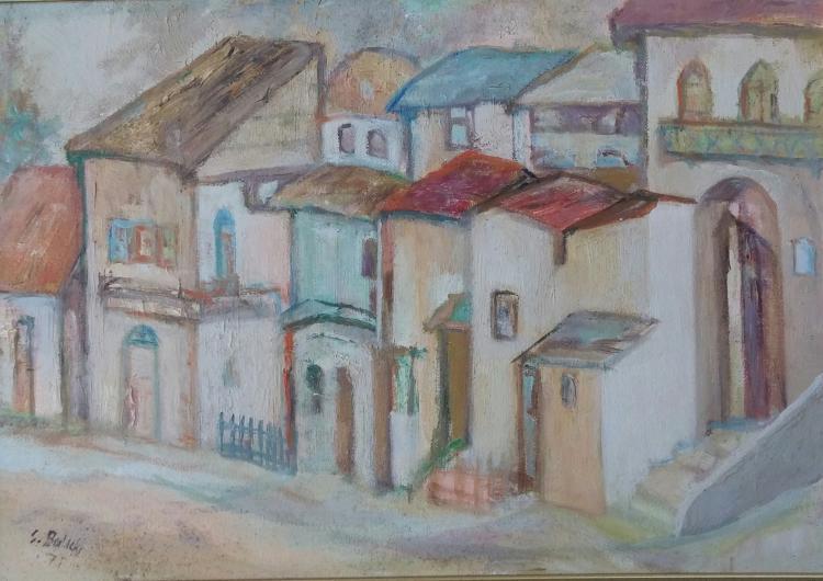 SHIMON BALISKY Signed Painting 1970 Jewish Polish Israeli