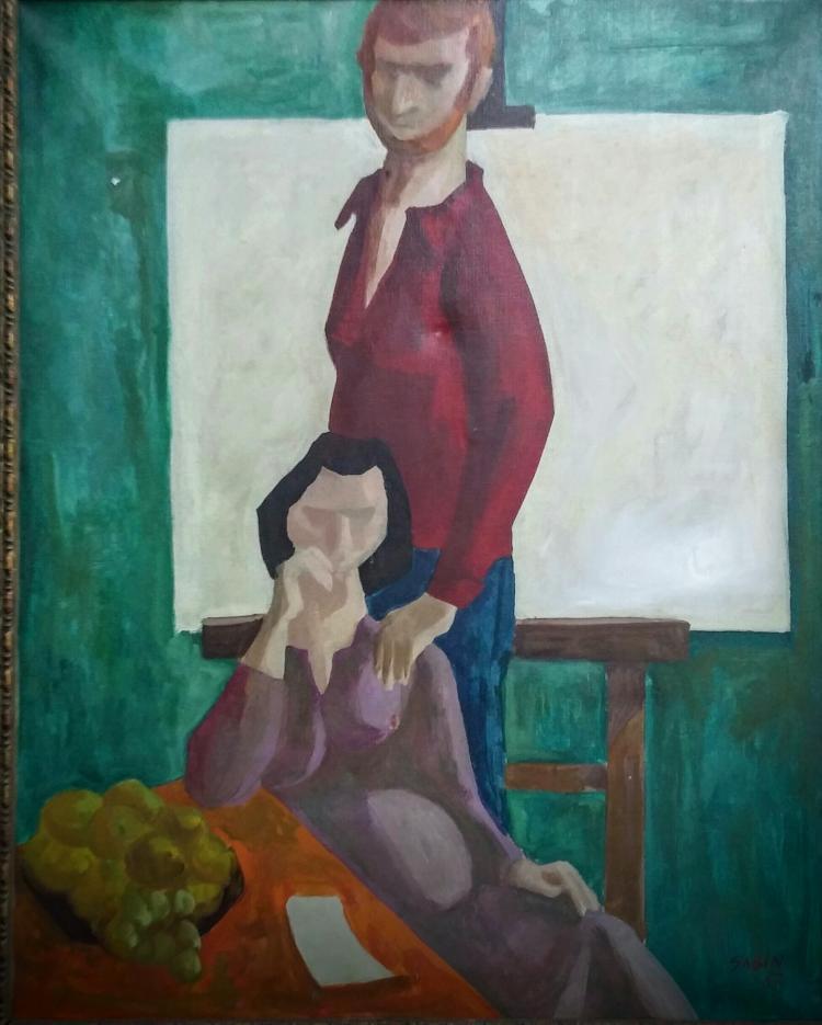 SAMI BIDJERANO SABIN  Signed Painting 1967 Bulgarian Ecole de Paris