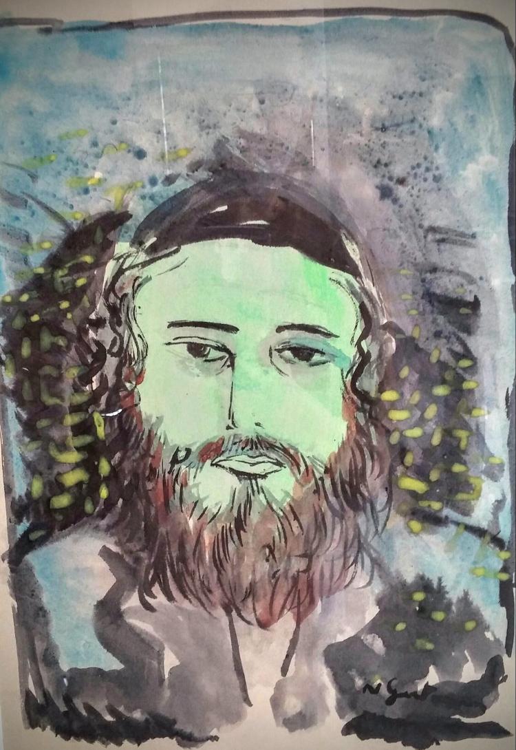 NATAN GUTMANN Signed Watercolour Rabbi Jewish Judaica French