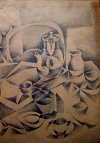 MICHAEL ARAM Pencil Drawing Russian Cubism