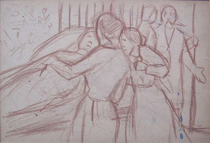 SERGE FERAT Crayon Drawing Painting French Russian