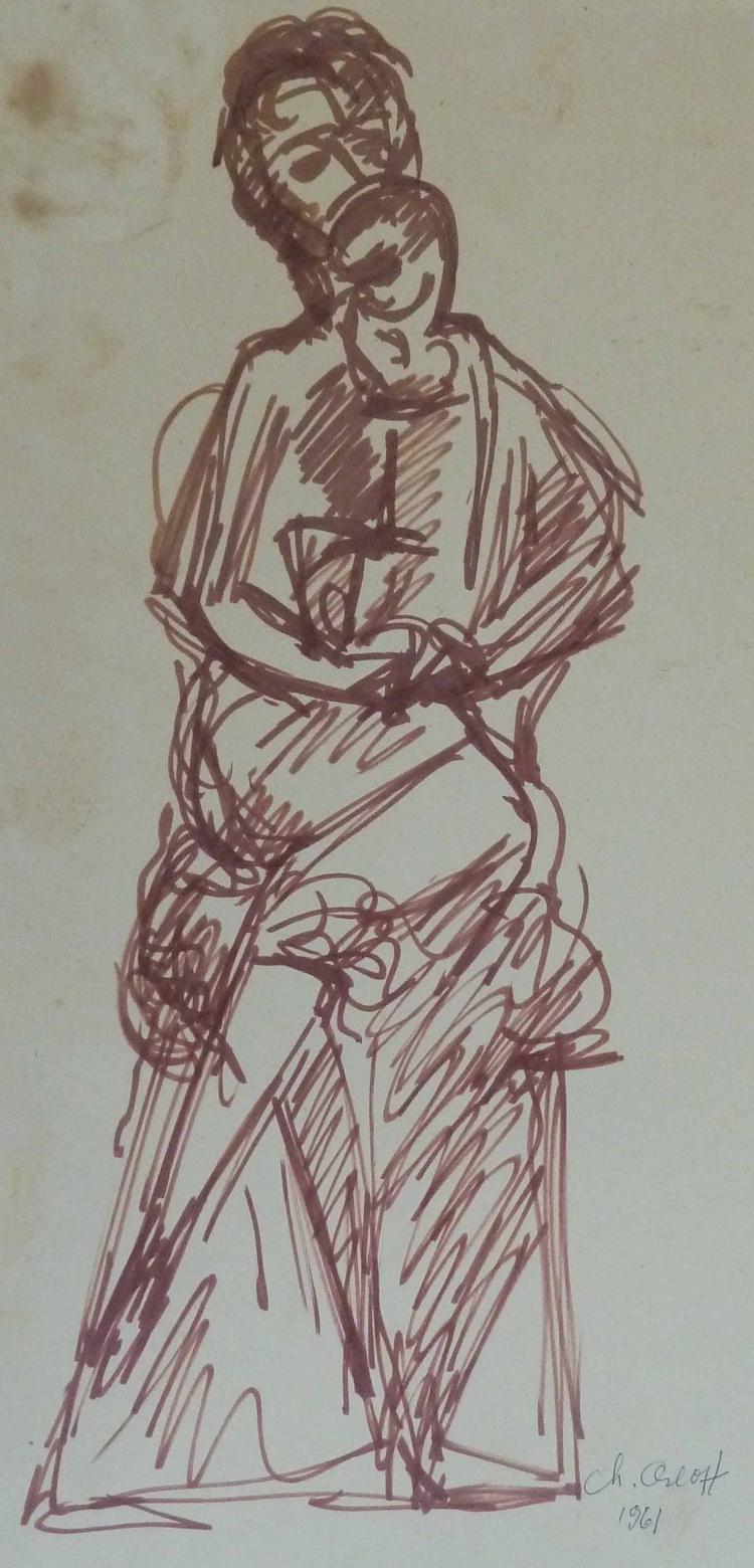 CHANA ORLOFF Hand SIgned Drawing Russian Ukrainian Art 1961
