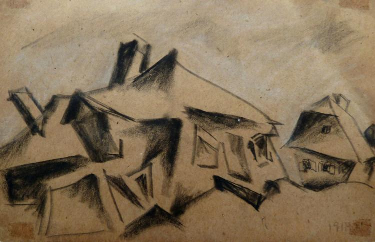 ISSACHAR RYBACK Drawing 1917 Russian Art Cubism Judaica