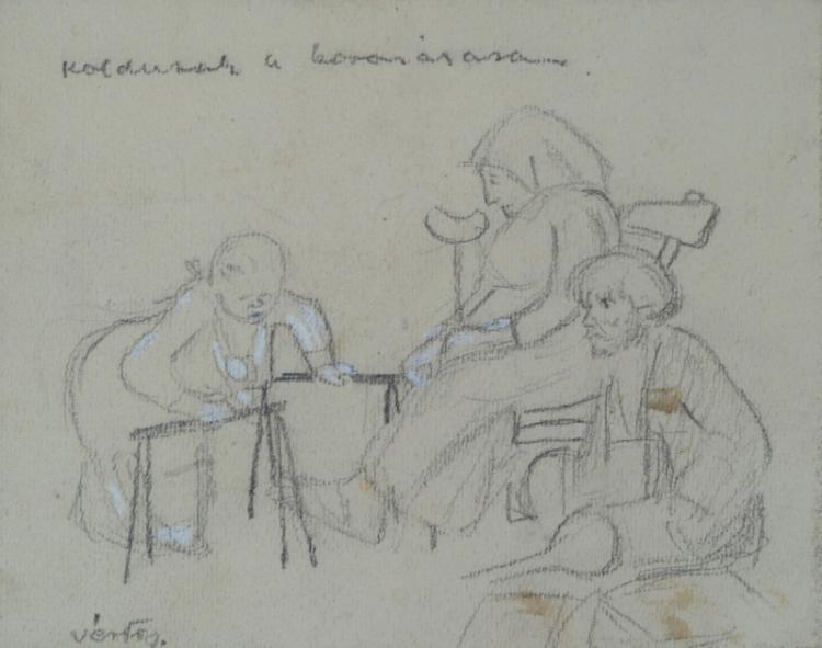 MARCEL VERTES Hand Signed Drawing Hungarian Art