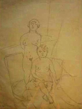 JULES PASCIN Large Drawing 1925 Bulgarian French Ecole de Paris