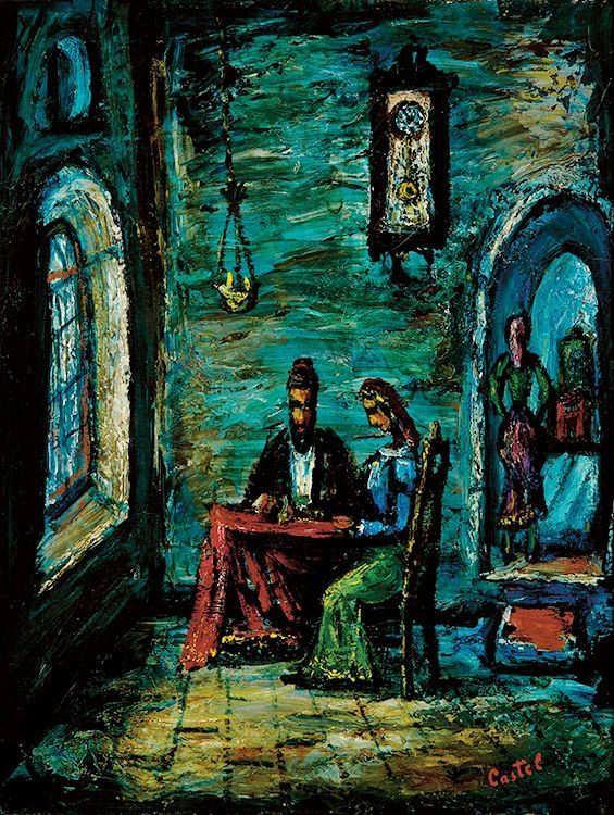 Moshe castel signed oil painting israeli art 1940 judaica je for Israeli artists oil paintings