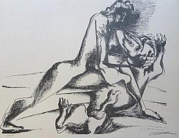 OSSIP ZADKINE Hand Signed Lithograph Russian French Cubism Hercules