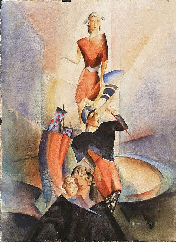 ALBERT MUELLER Signed Watercolour German Art Sailor