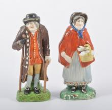A pair of Staffordshire ''Old Age'' figures, Woods type, restored, 18cm.
