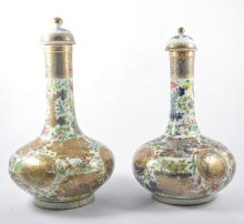 Pair of Chinese porcelain bottle vases, each with a domed cover, bulbous bo