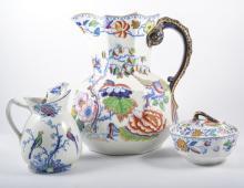 Masons Ironstone jug and bowl set, a matching soap dish, and a Woods potter