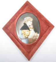 Continental porcelain oval plaque, hand-painted, Girl at Prayer, lozenge fr