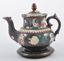 Bargeware teapot, 20cm, initialled W. D., with associated stand.