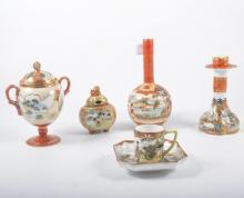 Collection of Japanese porcelain teaware, together with ornamental vases, j