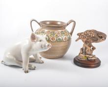 Denby twin handled stoneware pot, Royal Copenhagen figure of a sitting pit,