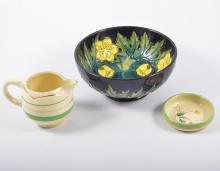 Moorcroft bowl, 16cm, small Clarice Cliff dish and similar jug.