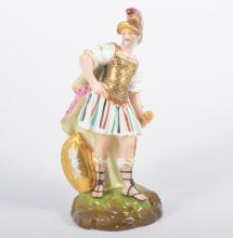 A porcelain figure of the god Mars, with painted Derby marks to base, 19cm