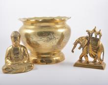 Eastern brass model, Buddha seated, 16cm, other models and jardinieres.