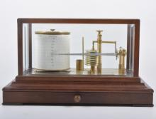 A mahogany cased table barograph, R. W. Munro Ltd, London, the case with a