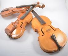A Viola, 44cm, single piece back and four violins, (5).