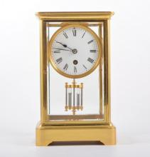 Brass cased ''four glass '' mantel clock, circular dial French cylinder mov