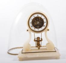 Alabaster mantel clock, the dial supported by scrolls French cylinder movem