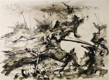 Anthony R, Demon Tree, ink on paper, monogram and date '62, with personal